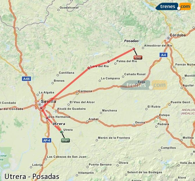 Karte vergrößern Züge Utrera Posadas