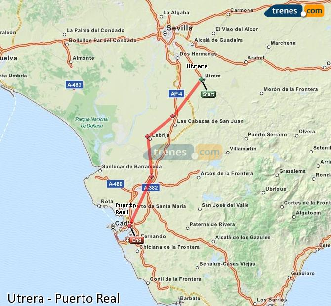 Enlarge map Trains Utrera to Puerto Real