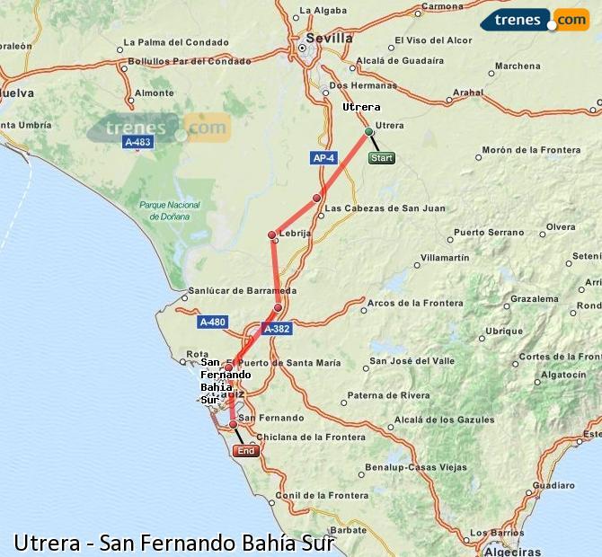 Enlarge map Trains Utrera to San Fernando South Bay