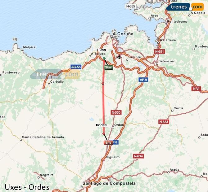 Ampliar mapa Comboios Uxes Ordes