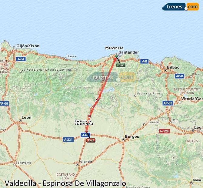 Agrandir la carte Trains Valdecilla Espinosa De Villagonzalo