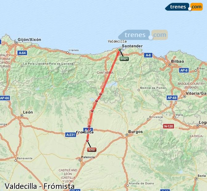 Enlarge map Trains Valdecilla to Frómista