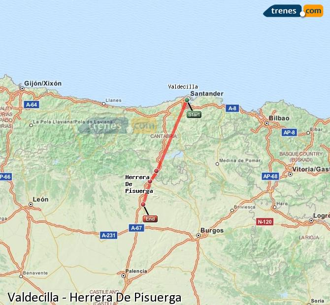 Enlarge map Trains Valdecilla to Herrera De Pisuerga
