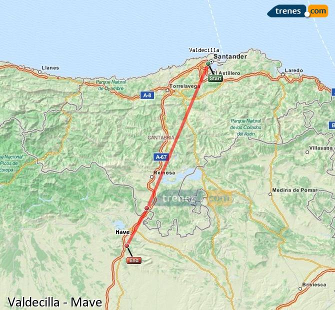 Enlarge map Trains Valdecilla to Mave