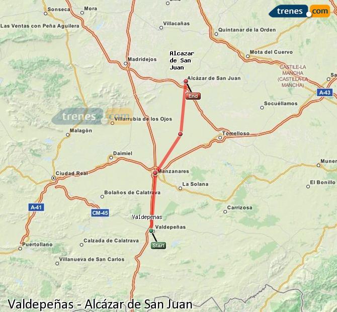 Agrandir la carte Trains Valdepeñas Alcázar de San Juan