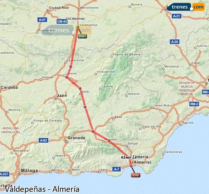 Ampliar mapa Trenes Valdepeñas Almería