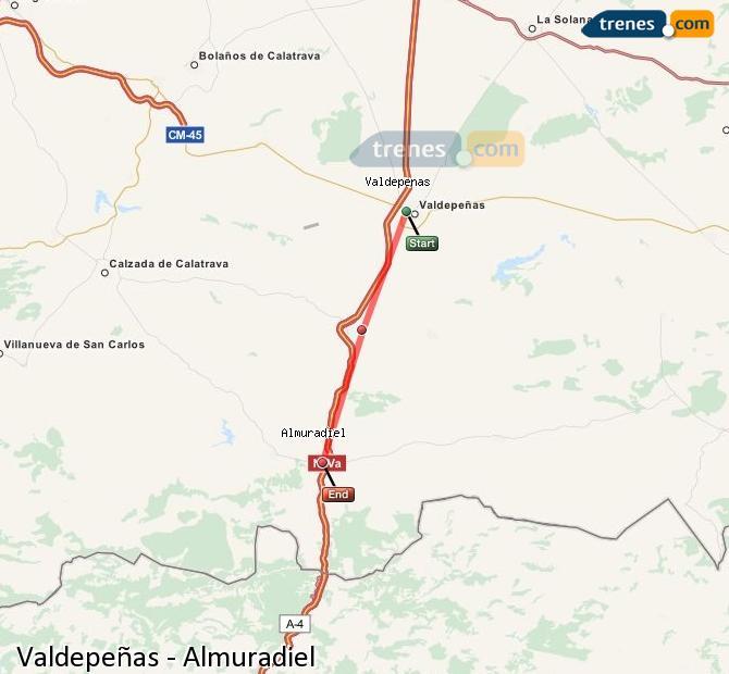 Agrandir la carte Trains Valdepeñas Almuradiel