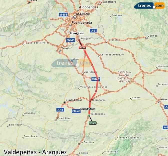 Enlarge map Trains Valdepeñas to Aranjuez