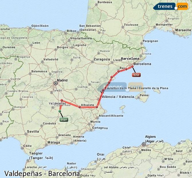 Ingrandisci la mappa Treni Valdepeñas Barcellona