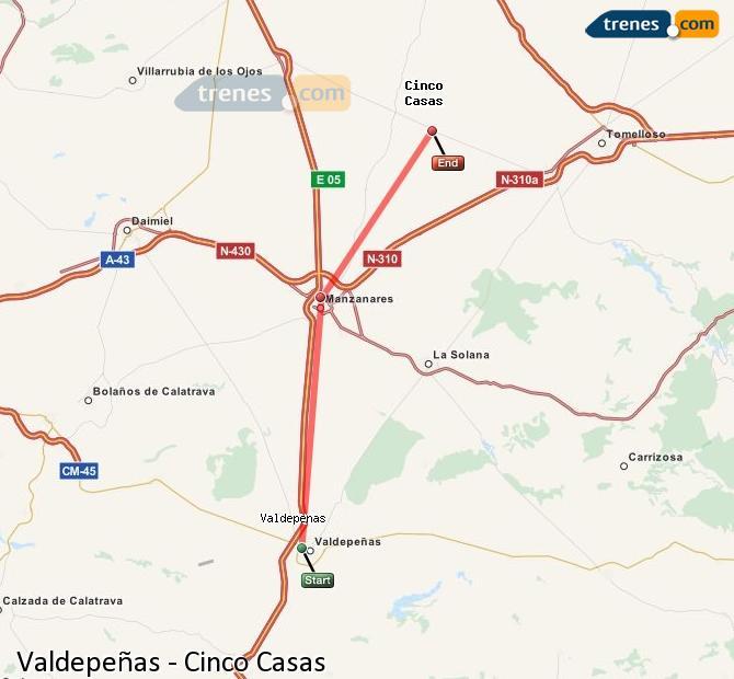 Ampliar mapa Trenes Valdepeñas Cinco Casas