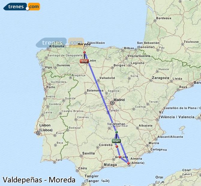 Ingrandisci la mappa Treni Valdepeñas Moreda