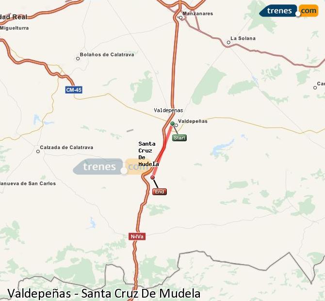 Enlarge map Trains Valdepeñas to Santa Cruz De Mudela