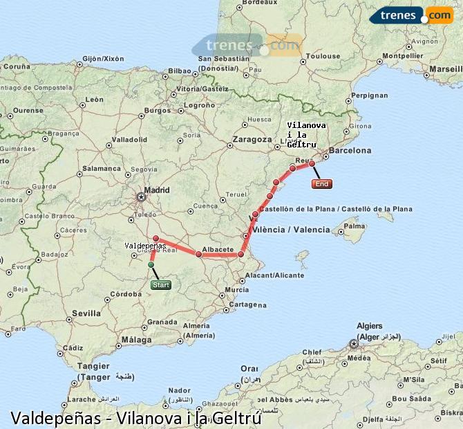 Karte vergrößern Züge Valdepeñas Vilanova i la Geltrú