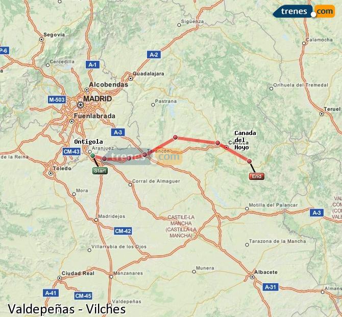 Ampliar mapa Comboios Valdepeñas Vilches