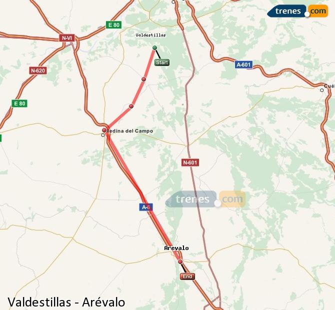 Karte vergrößern Züge Valdestillas Arévalo