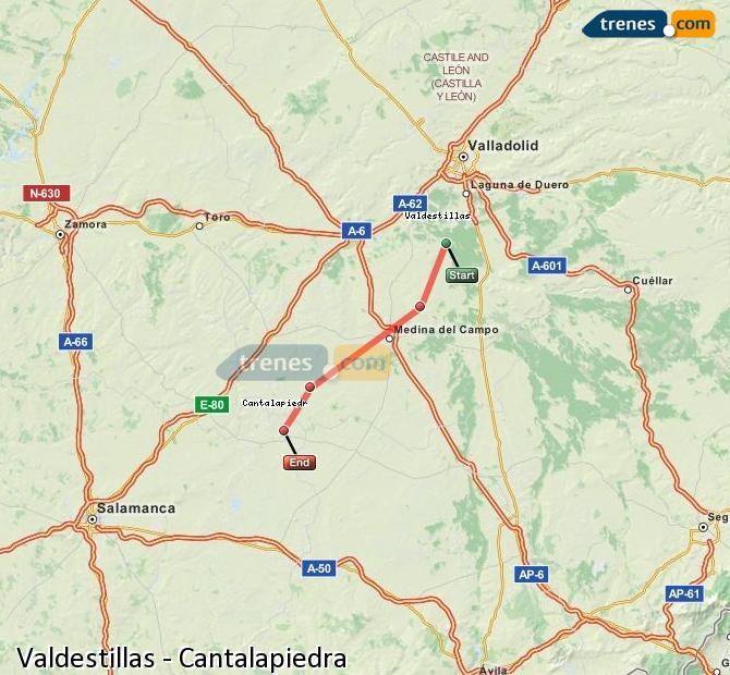 Enlarge map Trains Valdestillas to Cantalapiedra