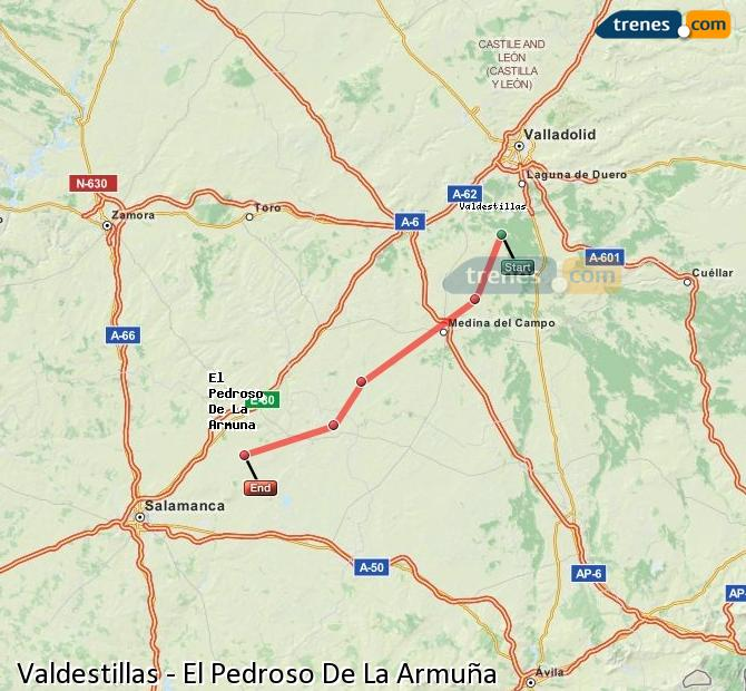 Enlarge map Trains Valdestillas to El Pedroso De La Armuña