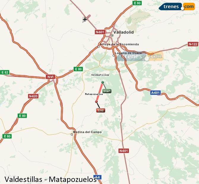 Ingrandisci la mappa Treni Valdestillas Matapozuelos
