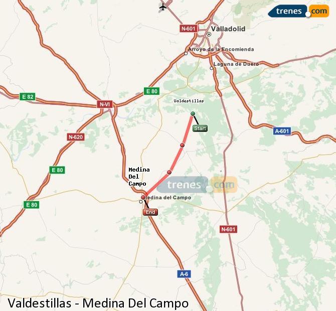 Ampliar mapa Trenes Valdestillas Medina Del Campo