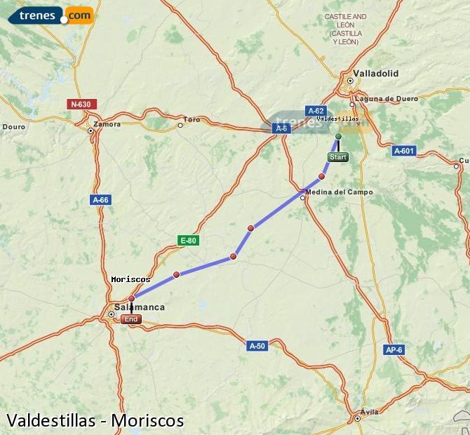 Ampliar mapa Trenes Valdestillas Moriscos