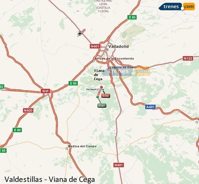 Enlarge map Trains Valdestillas to Viana de Cega