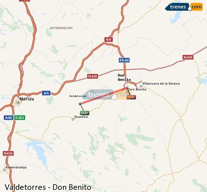 Ampliar mapa Trenes Valdetorres Don Benito