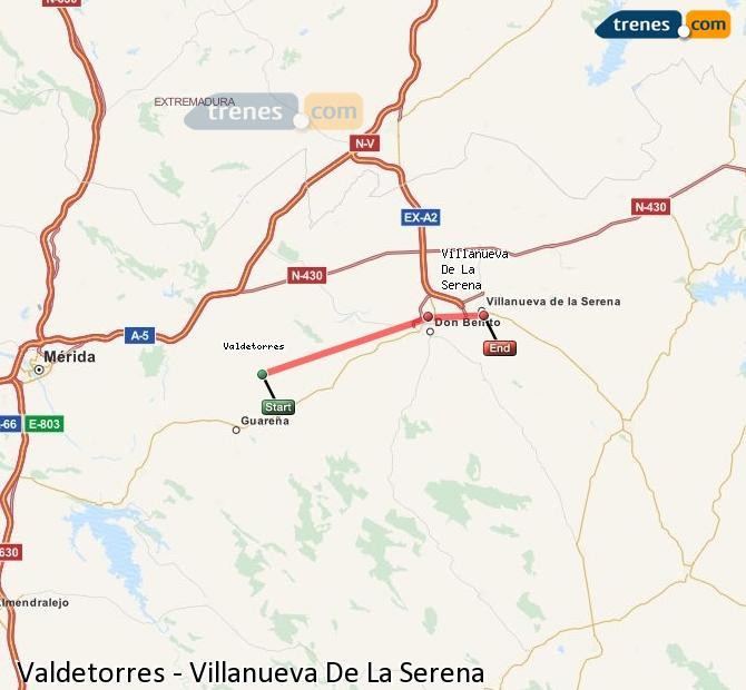 Enlarge map Trains Valdetorres to Villanueva De La Serena