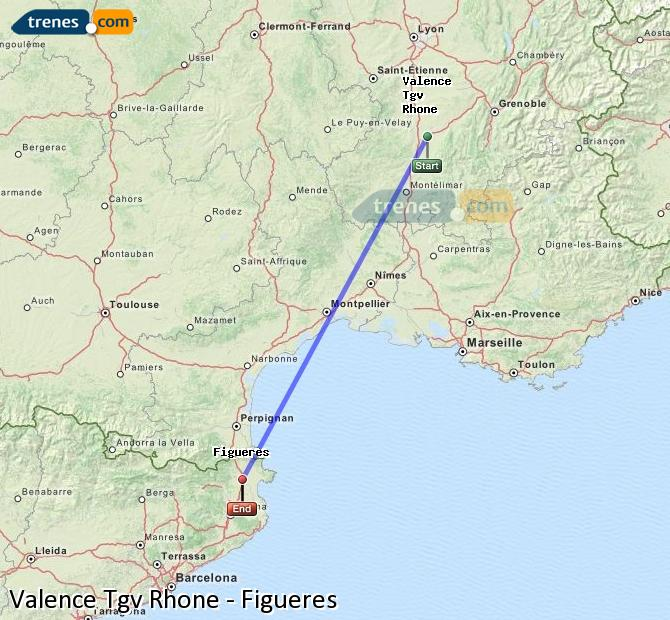 Enlarge map Trains Valence Tgv Rhone to Figueres