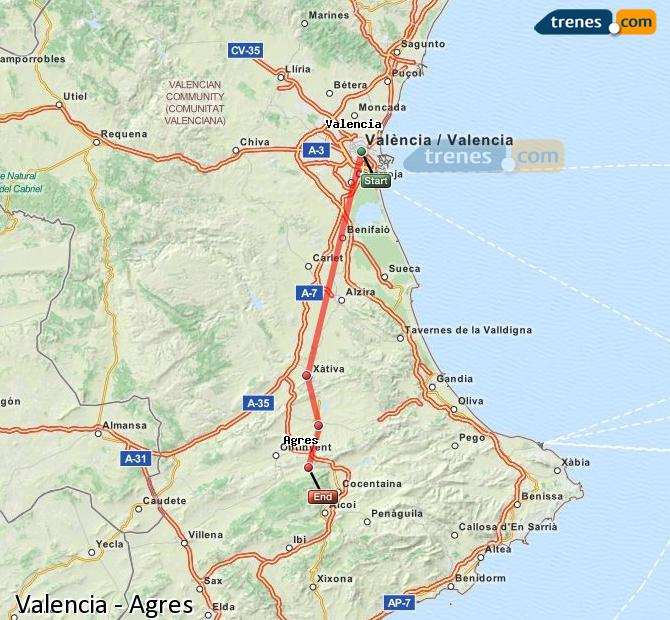 Enlarge map Trains Valencia to Agres