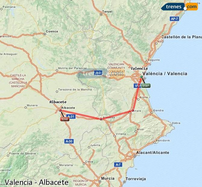 Enlarge map Trains Valencia to Albacete