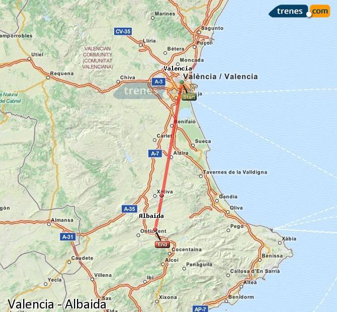 Ampliar mapa Trenes Valencia Albaida