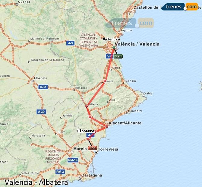 Ampliar mapa Trenes Valencia Albatera