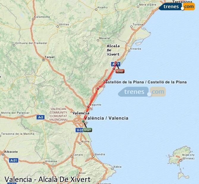 Agrandir la carte Trains Valence Alcalà De Xivert