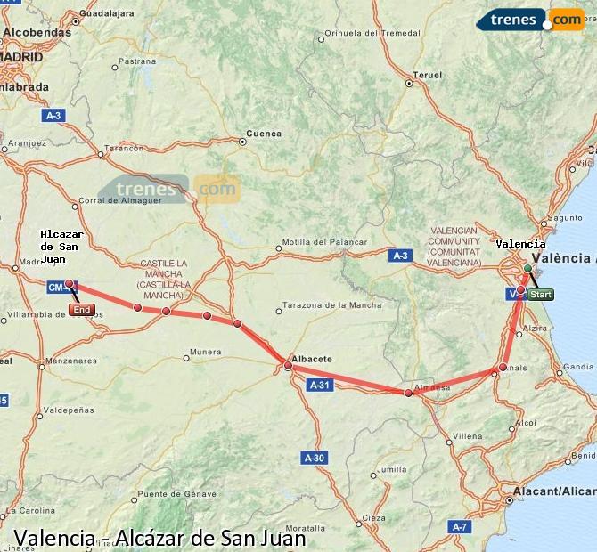 Ingrandisci la mappa Treni Valencia Alcázar de San Juan
