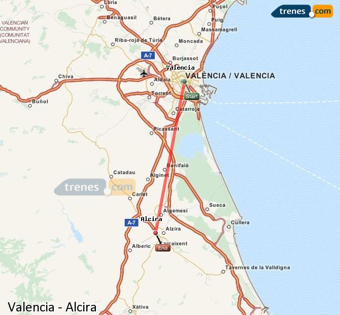 Enlarge map Trains Valencia to Alcira