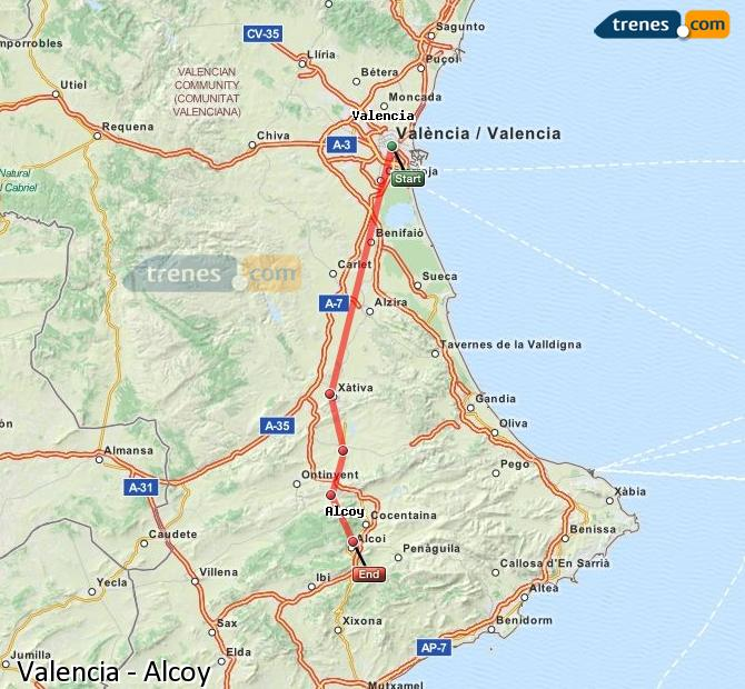 Enlarge map Trains Valencia to Alcoy