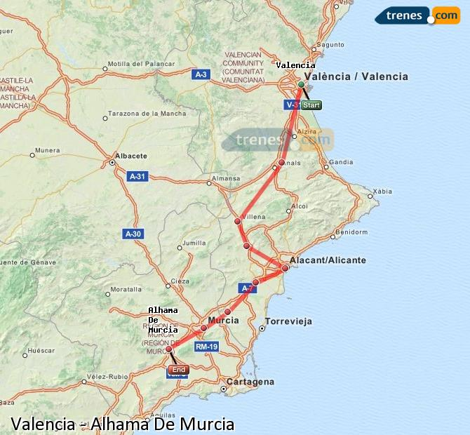 Enlarge map Trains Valencia to Alhama De Murcia