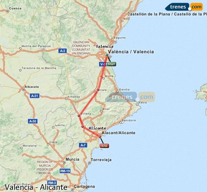 Ampliar mapa Trenes Valencia Alicante