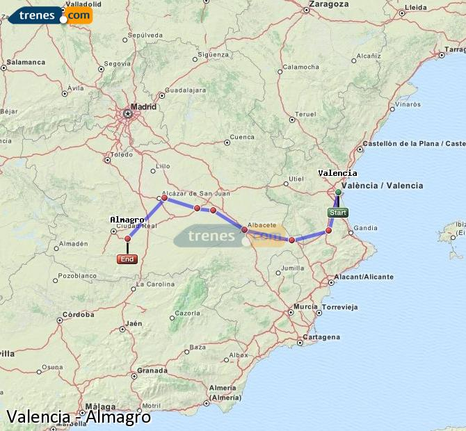 Enlarge map Trains Valencia to Almagro