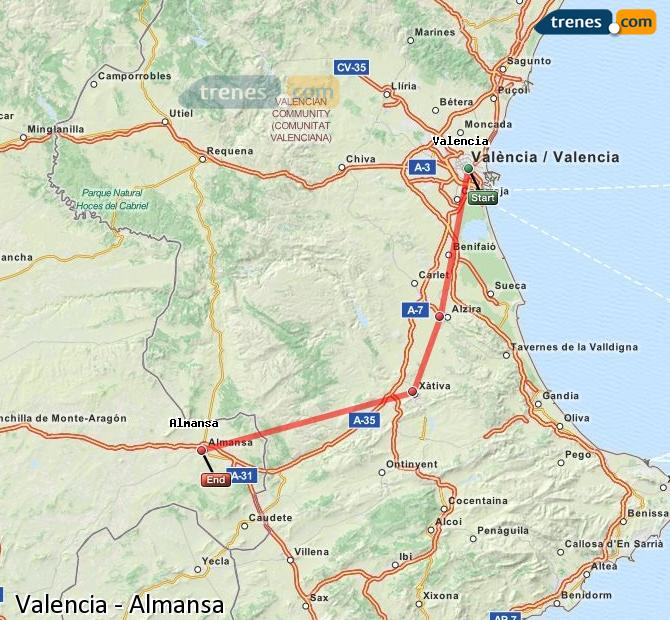 Ampliar mapa Trenes Valencia Almansa
