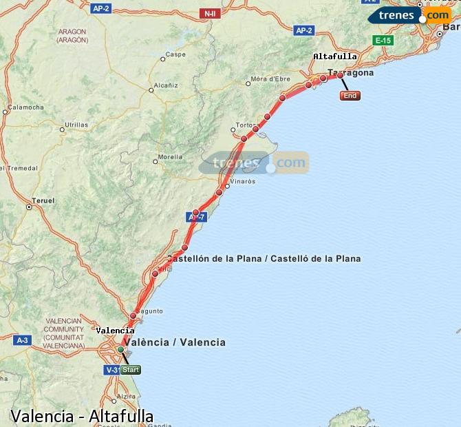 Enlarge map Trains Valencia to Altafulla