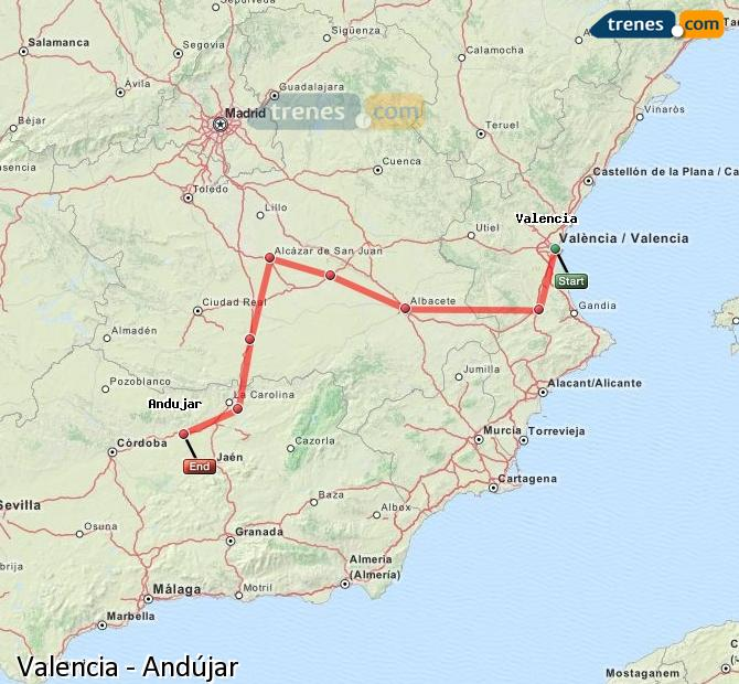 Enlarge map Trains Valencia to Andújar