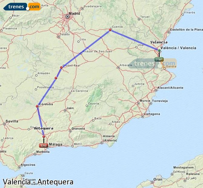 Enlarge map Trains Valencia to Antequera