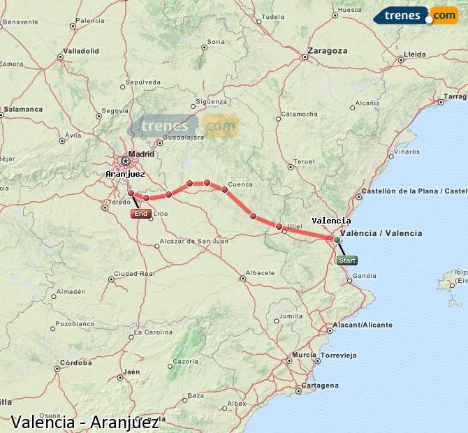 Enlarge map Trains Valencia to Aranjuez