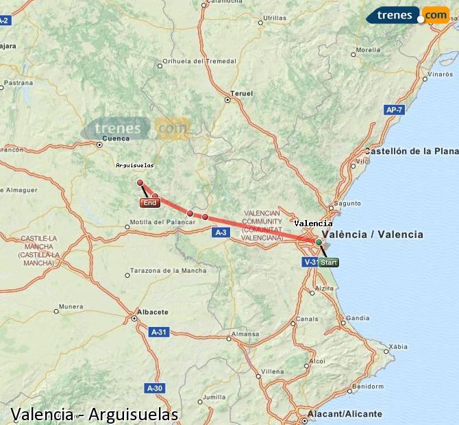Karte vergrößern Züge Valencia Arguisuelas