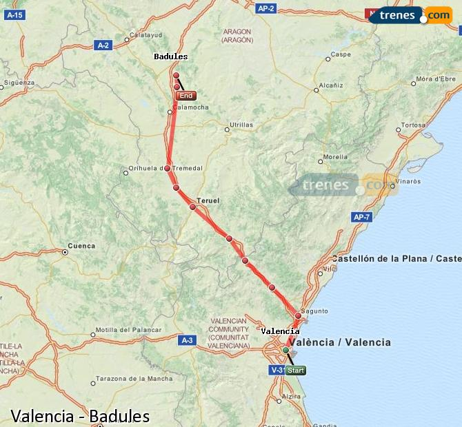 Ampliar mapa Trenes Valencia Badules