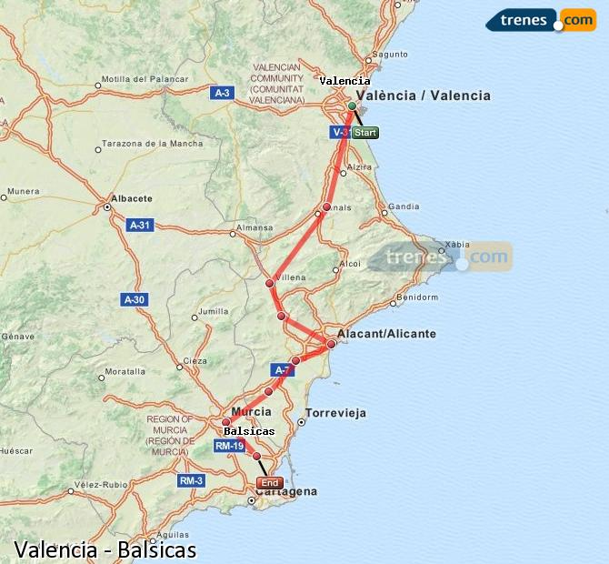 Enlarge map Trains Valencia to Balsicas