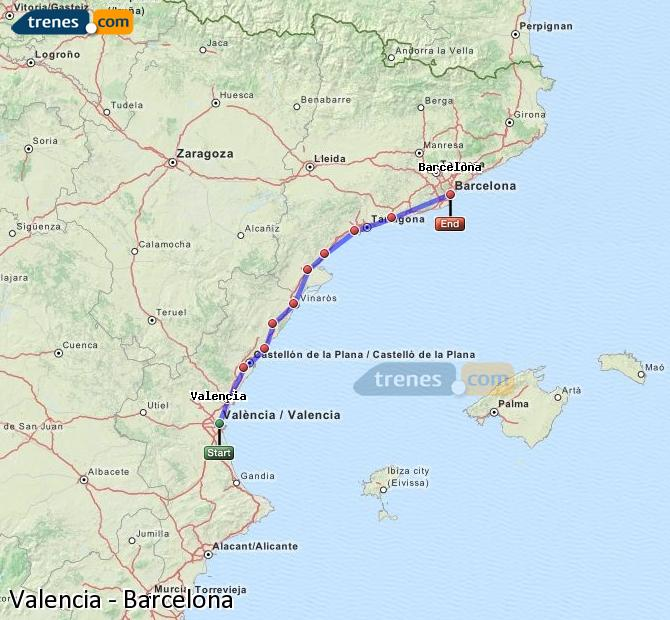 Enlarge map Trains Valencia to Barcelona