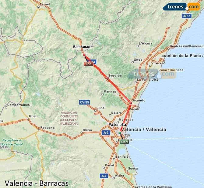 Enlarge map Trains Valencia to Barracks