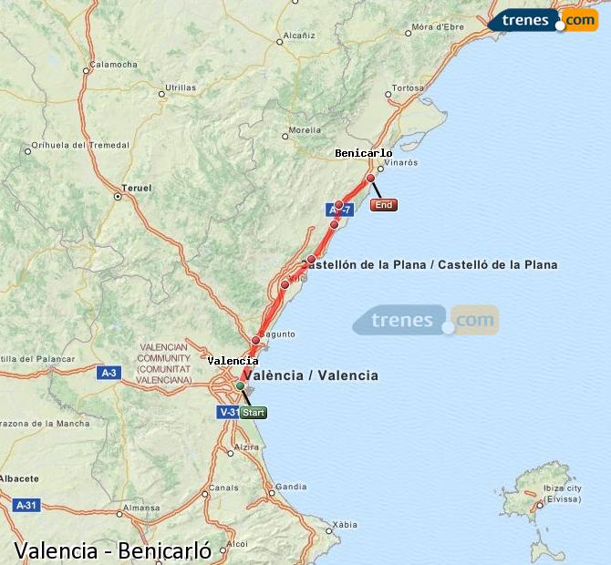 Enlarge map Trains Valencia to Benicarló